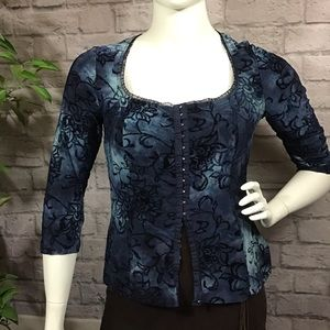 🌻 3/$20 Blue & black corset inspired cardigan top